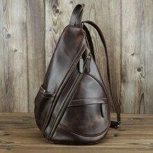 Maheu 독특한 캐주얼 정품 가죽 삼각형 배낭 남성 여성 travlling bagpacks ipad 작은 배낭 휴대용 남성 가방
