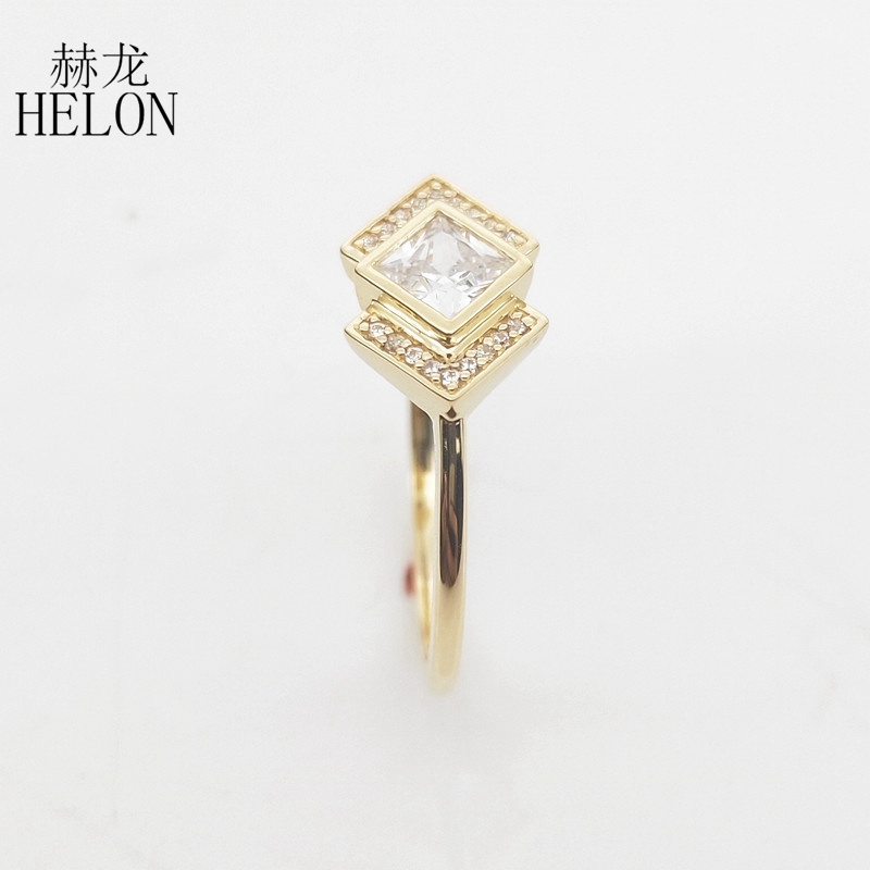 Image 5 - Solid 10k Yellow Gold Princess cut 4MM 100% Genuine AAA Graded Cubic Zirconia Engagement Wedding Women Trendy Jewelry Ring GiftRings   -