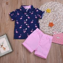 BORUMEX 2019 new summer boy suit flamingo short-sleeved printed shirt five pants two sets of childrens casual wear