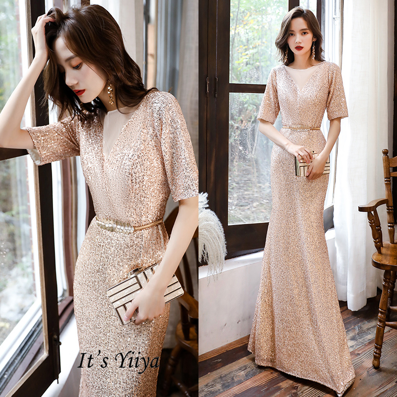 It's YiiYa Evening Dresses Long V-Neck Sequined Plus Size Evening Dress 2020 Elegant Half Sleeve Mermaid Robe De Soiree K111