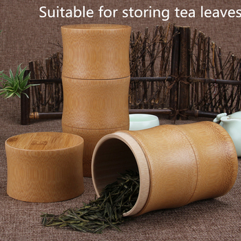 Bamboo Storage Bottles Kitchen Tea Container Jar Cans Case Organizer Spice Round Caps Seal Box Canister For Bulk Products 6