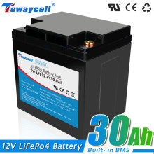 12V Lifepo4 30AH battery pack with 12.8V BMS 4S 30ah Rechargeable battery for Solar energy storage RV boat inverter monitor RV
