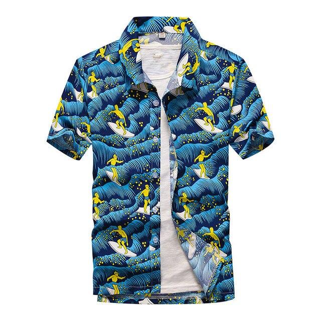 Beach Shirts Men Summer Vacation camisas para hombre Coconut tree Printed Short Sleeve Button Down Hawaiian shirts for Men M-5XL 6