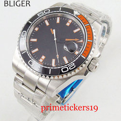 Mechanical men watch 43mm BLIGER no logo black dial date sapphire glass mental strap movement