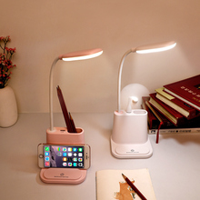 Lámpara de escritorio LED recargable USB que toca la lámpara de mesa de ajuste de atenuación soporte de teléfono luz de lectura con la lámpara de la olla del cepillo del ventilador