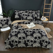 Luxury Sugar Skulls Bedding Sets Black Color Skull Floral Duvet Cover Queen King Size Beddings Bed 3pcs dropshipping