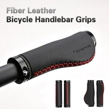 Manillar de bicicleta Universal de 22,2mm, empuñadura de fibra de cuero antideslizante con bloqueo de Manillar de bicicleta de montaña, empuñaduras de manillar de bicicleta MTB
