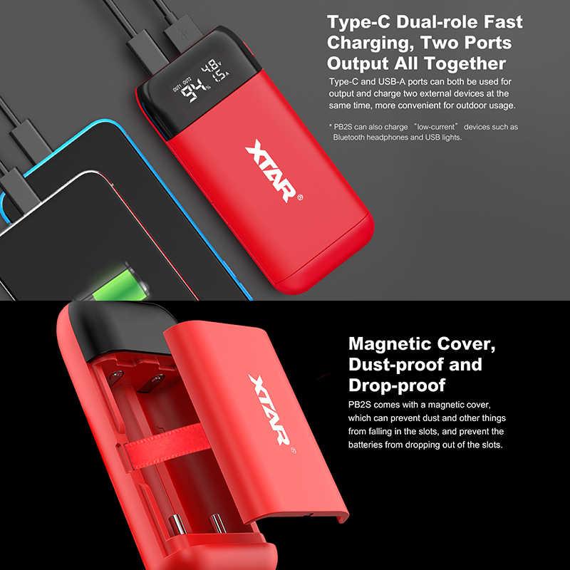 XTAR 電源銀行充電器 PB2S USB 充電器タイプ C QC3.0 高速充電 2019 最新 18650 電源銀行 20700 21700 バッテリー充電器