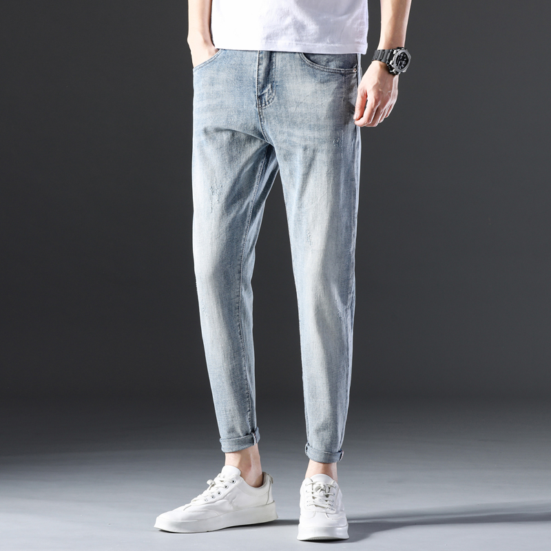 KSTUN Famous Brand Jeans Men White Blue Stretch Relaxed Tapered Pants Leisure Full Length Trousers Good Quality Jeans Male Homme 12