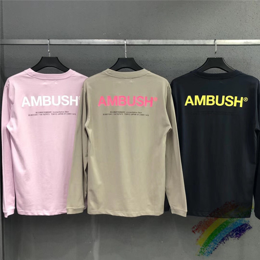 Long Sleeve AMBUSH Men T-shirts 1:1 Best Quality Women Men Summer Style Top Tees T Shirts Streetwear AMBUSH T Shirt