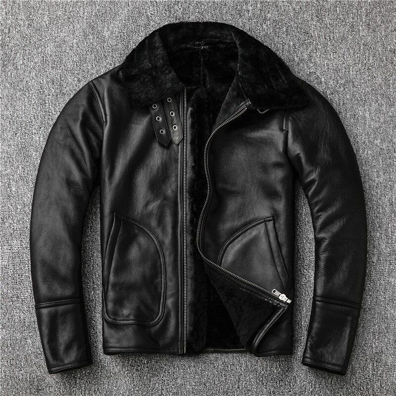 Sales 2020 Winter Sheepskin Wool Fur Shearling Jacket Thick Warm Leather Coat Plus Size Men Casual Style