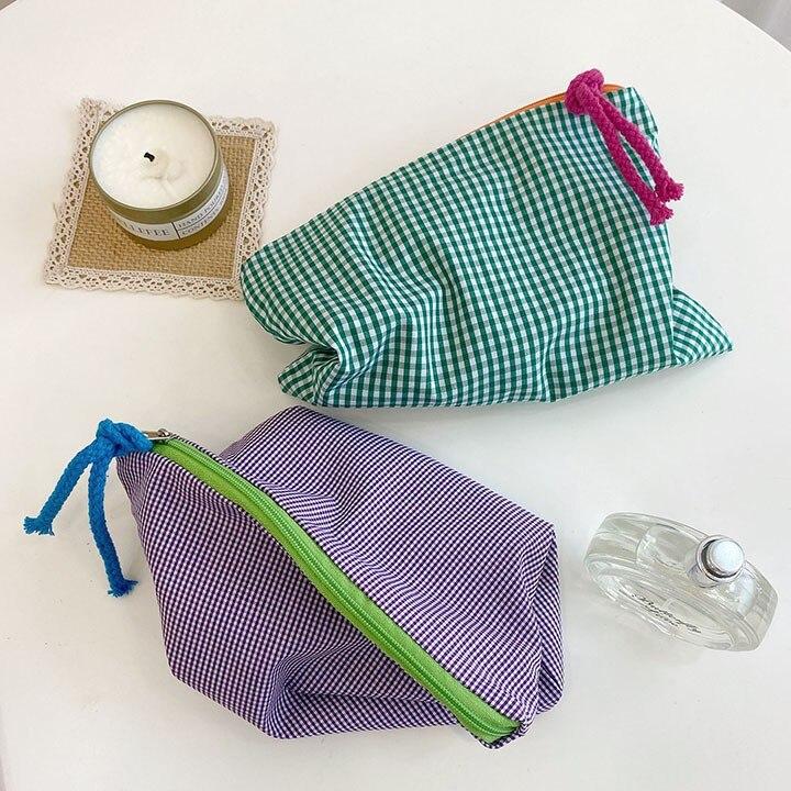 Купить женская клетчатая косметичка модная хлопковая сумочка на молнии