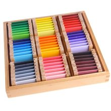 57EE Montessori Sensorial Material Learning Color Tablet Box Wood Preschool Toy