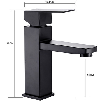 XUNSHINI Black Square  Bathroom Sink Faucet Single Handle Basin Faucet Wash Tap Bathroom Toilet Deck Mounted Basin Tap 7