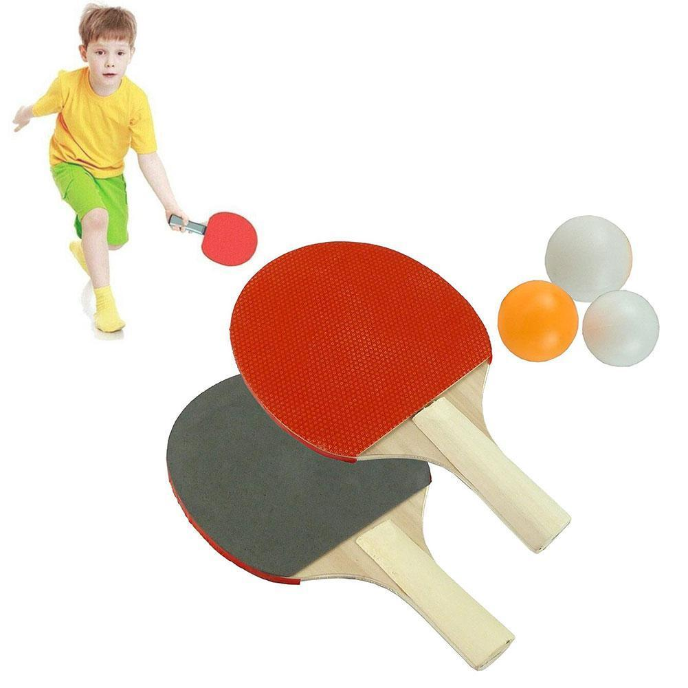 2pcs Table Tennis Racket Double Face Glue Short Handle With Ping Balls Pong 3 Racket Set