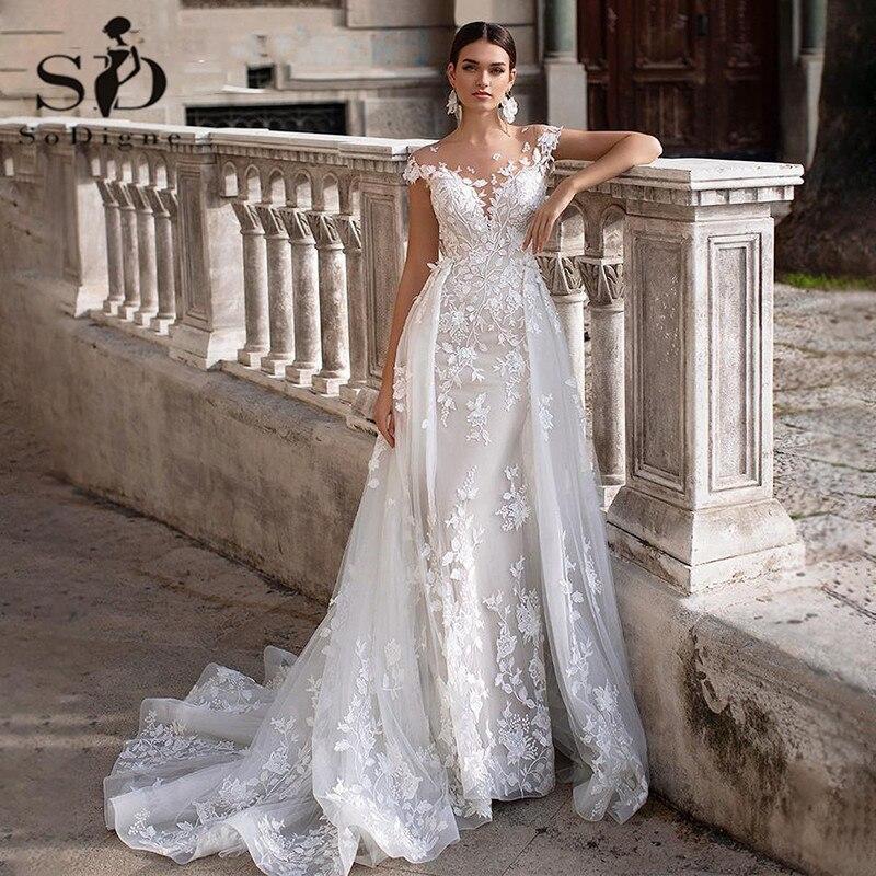 Wedding Dress 2021 Short Sleeves Appliques Mermaid Bridal Dress With Detachable Train...