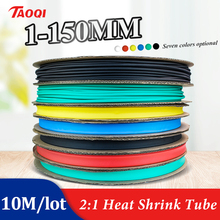 1/2/3-/.. Tubing-Wire-Cable Heat-Shrink-Tubing-Tube-Kit Insulation BLACK 10-Meter/Lot
