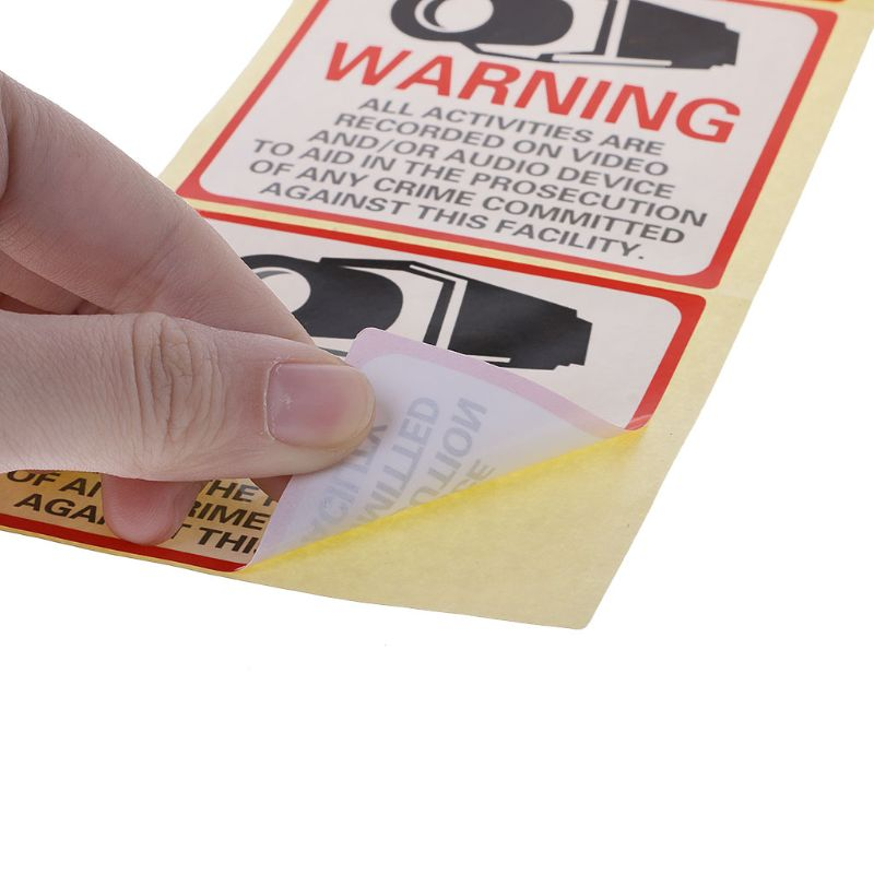 8PCS Warning Stickers SECURITY CAMERA IN USE Self-adhensive Safety Label Signs Decal For Our Safety