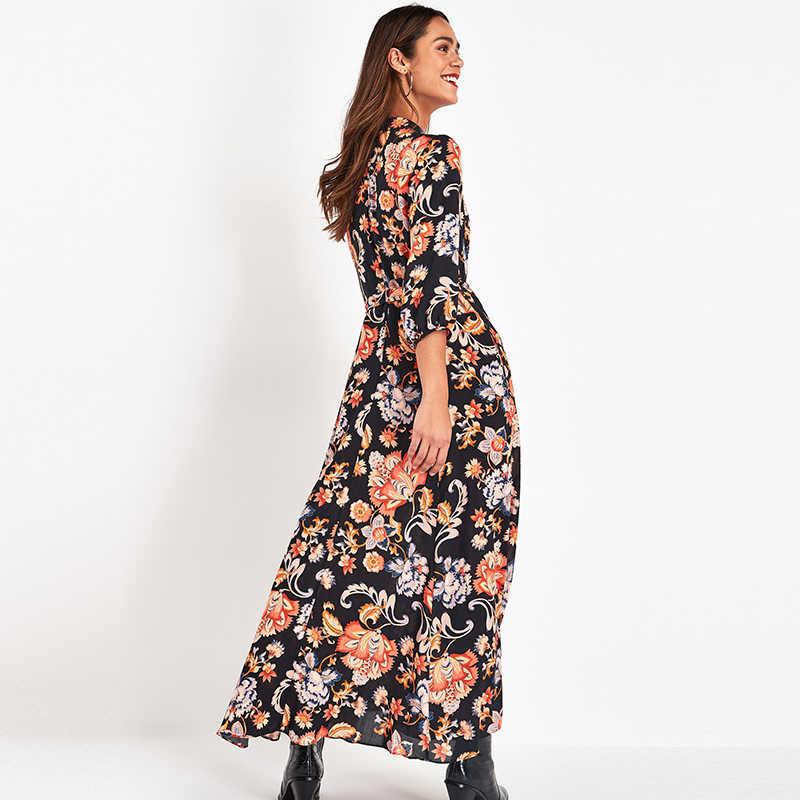 Floral estampado longo maxi vestido feminino elegante casual turn down colarinho camisa vestido de três quartos manga boêmio faixas vestidos