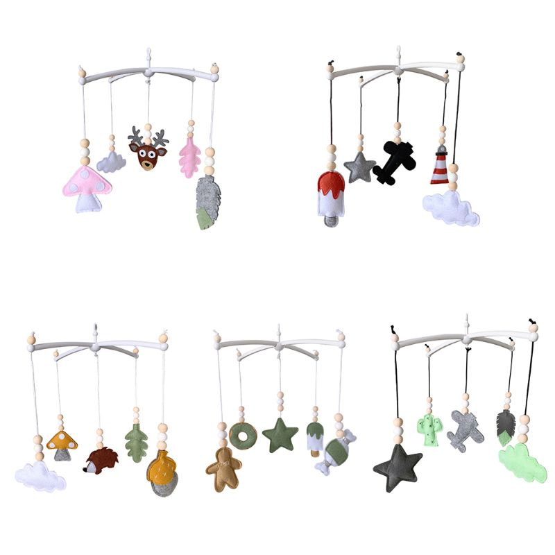 Nordic Baby Felt Rattles Bed Bell Wind Chimes Toys Star Round Animal Shape Kids Children Room Decor Infants Toddlers Bed Hanging