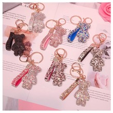 Rhinestone Cartoon Gloomy Bear Keychain Car Tassel Key Chain Ring Holder Pendant For Bag Charm Chaveiro llaveros mujer