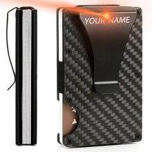 Purse Business-Card-Holder Metal Wallet Carbon-Fiber Billetera RFID Carteira Name Male