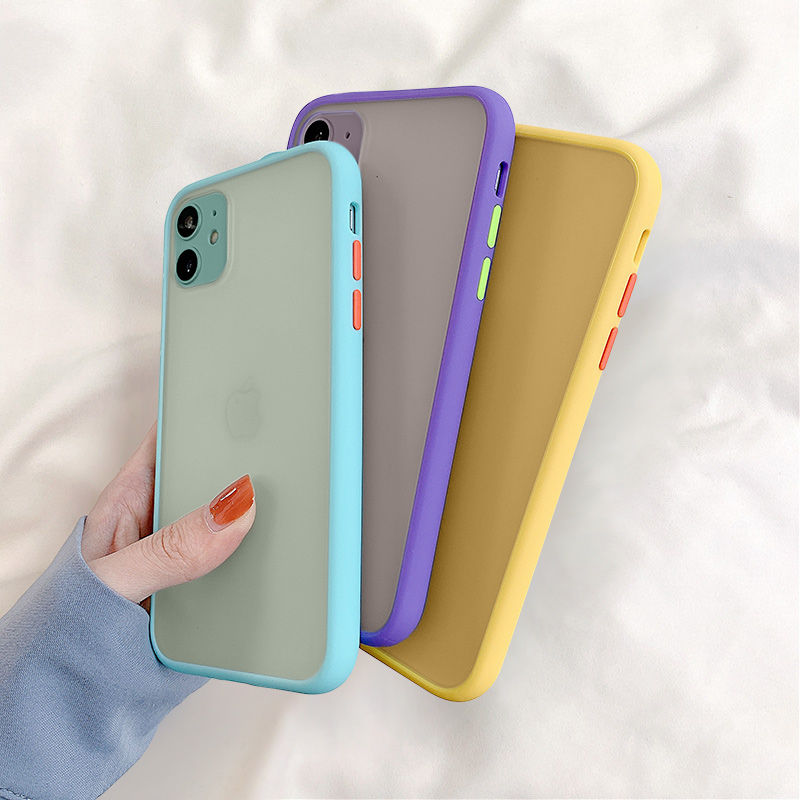 Mint Hybrid Simple Matte Bumper Phone Case For iPhone 11 Pro Max XR XS Max 6S 8 7 Plus Shockproof Soft TPU Silicone Clear Cover(China)