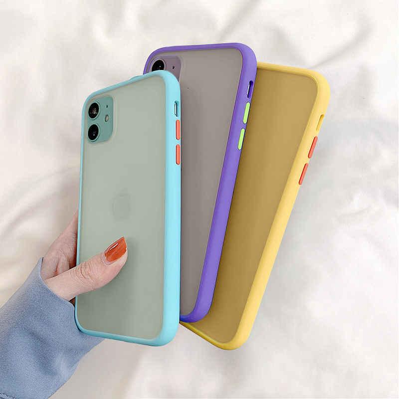Nane hibrid basit mat tampon telefon kılıfı için iPhone 11 Pro Max XR XS Max 6S 8 7 artı darbeye yumuşak TPU silikon şeffaf kapak