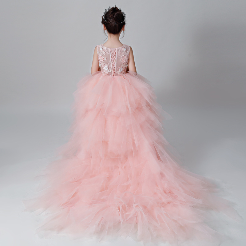 Girls Wedding Dress Tailing Ultra-Long Children Host Catwalks Evening Gown Princess Dress Model Flower Boys/Flower Girls Piano C