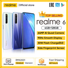 Realme 6 nfc global versão 4gb 128gb telefone móvel 90hz display helio g90t 30w flash carga 64mp telefone da câmera telefones android