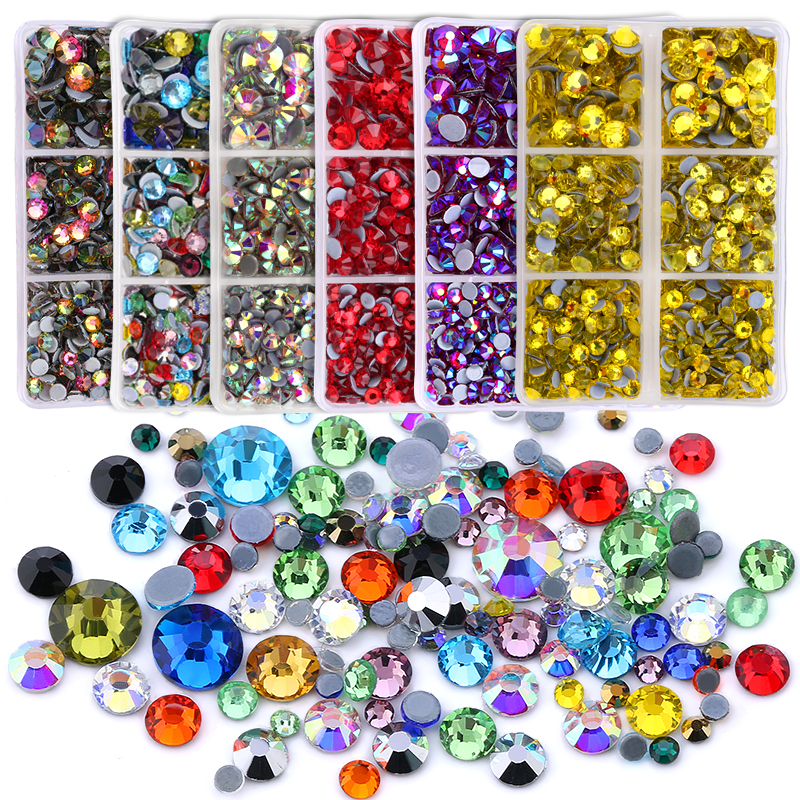 Strass Glass Rhinestone Crystal Glitter Mixed-Size Iron-On Ss6-Ss30 with 1-Pen Gem 3160pcs-Boxs