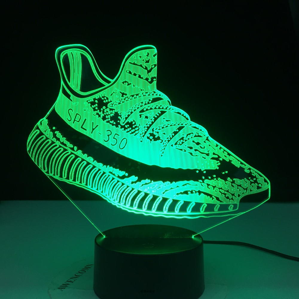 Acrylic Women's High Heels Shoes Shape 3D LED Night Light Atmosphere Table Lamp 3D Sneakers Shoes Shape Gifts For Boys Men's
