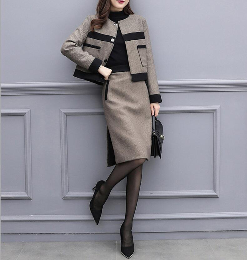 H04f80e0385de44dbbff3abf6493909bfY - Autumn Women Tracksuits Outfits Femenino Jacket Coat + Skirt 2 Two Piece Set Female Vintage Woolen Suits Sets Clothes AQ631