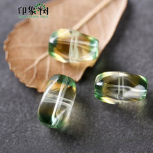 Natural Twist Barrel Bead Clear Bicolor Yellow Green Tone Crystal Bead 1pcs 9*13mm Quartz Rock Spacer Beads Jewelry DIY 22000(China)