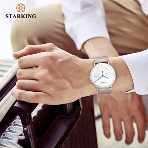 Image 4 - STARKING Simple Watches Men Steel Stainless Silver Mesh Band Watch Male Quartz Wristwatches With Auto Date Display Relogios 3ATM