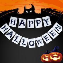 1pc Halloween Decoration Letters Flag Happy Deocr Supplies Paperboard Banner Home mail school Party Decor Accessories