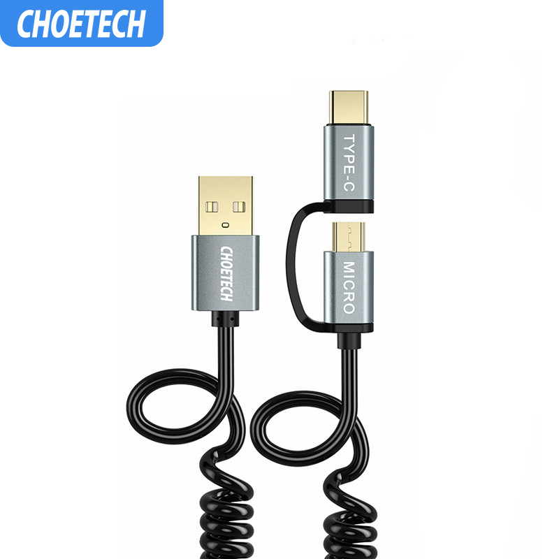 CHOETECH Fast Charging Cables 2 in 1 Micro USB Cable+USB Type C Cable for Samsung for Xiaomi for Nokia N1 Mobile Phone Cables-in Mobile Phone Cables from Cellphones & Telecommunications