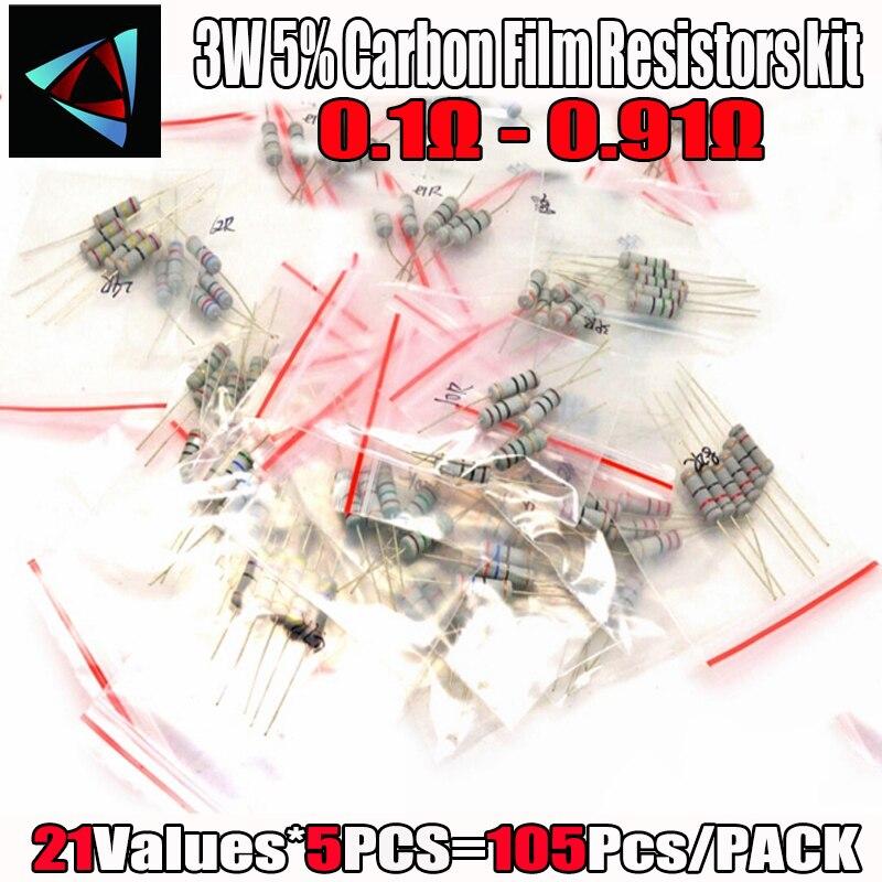 105Pcs 3W 5% 21 Values*5pcs Carbon Film Resistors 0.1 Ohm ~ 0.91 Ohm 5% Metal Oxide Film Resistor Kit