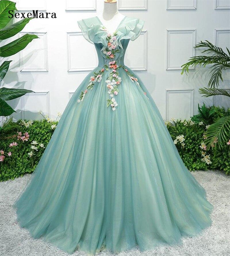 Saoudien arabe vert a-ligne v-cou robe de soirée longues robes de bal 2019 robes de soirée élégantes - 3