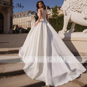 Image 2 - Adoly Mey Design Charming V ausschnitt Taste Satin A Line Hochzeit Kleid 2020 Luxus Perlen Appliques Gericht Zug Vintage Hochzeit Kleid