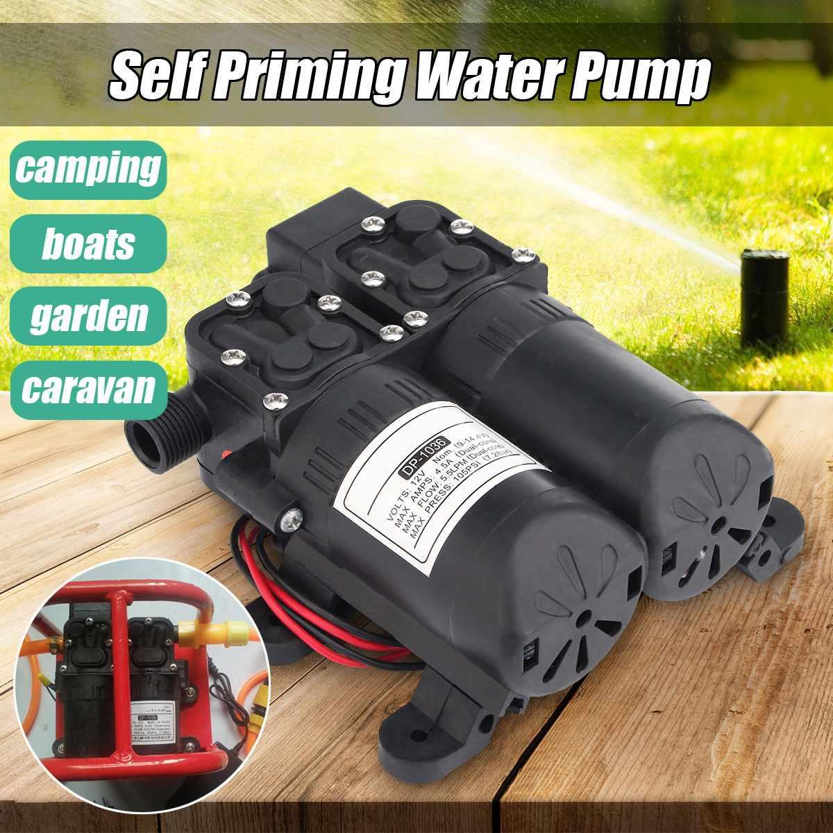 Updated DC 12V 105PSI Water High Pressure Diaphragm Water Pump Self Priming Dual Pressure Sprinkler Pump Automatic Switch