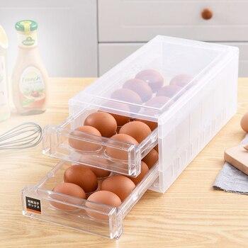 Contenedor recipiente de verduras para nevera diseño de cajón de doble capa almacenamiento cocina 24 rejilla fácil de limpiar organizador de caja de huevos a prueba de humedad