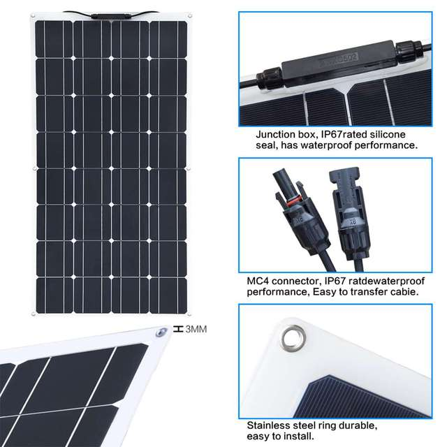 100W/300W Solar Panel Double USB Power Bank Board External Battery Charging Solar Cell Board