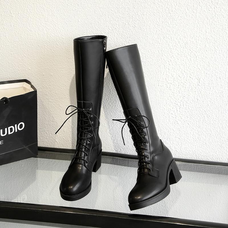 KATELVADI Hot Sale Winter Lacing Knee High Boots Women Fashion Black Square Heel Woman PU Leather Shoes Winter Size 34 39 K 505 in Knee High Boots from Shoes