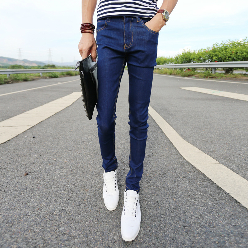 Jeans Men's Summer Thin Section 2017 New Products Korean-style Fashion Man Born Skinny Pants Blue Simplicity Casual Long Pants M