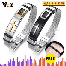 Vnox Adjustable Length Bracelet for Women Men Bangle Watch Band Design Stainless Steel Net Band Christ Cross Prayer Male Jewelry