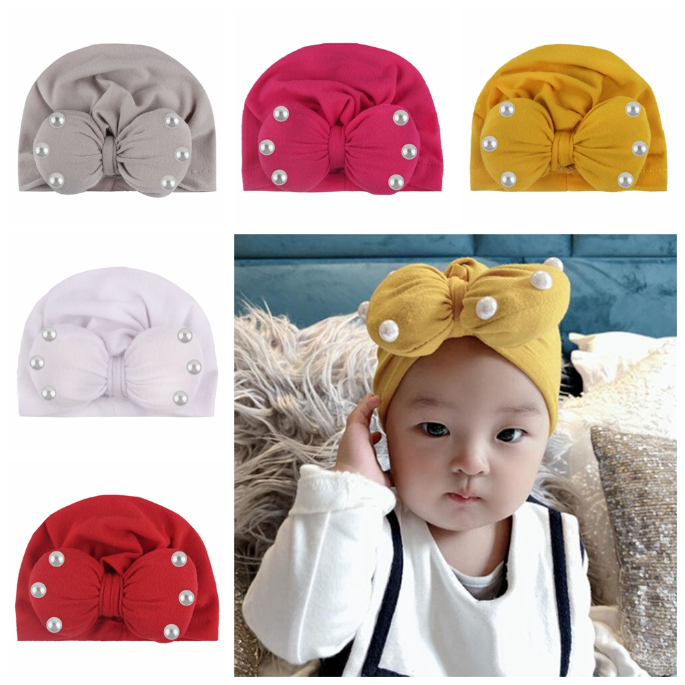 Boutique Toddler Round Bowknot Turban Hat Baby Pearl Bow Hat Children Girls Knotted Cap