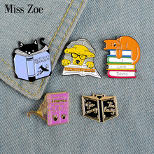 I Love หนังสือ Enamel Pin Custom Dog Cat(China)