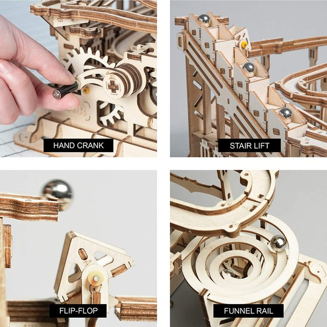 Robotime Rokr 4 Kinds Marble Run DIY Waterwheel Wooden Model Building Block Kits Assembly Toy Gift for Children Adult Dropship 3