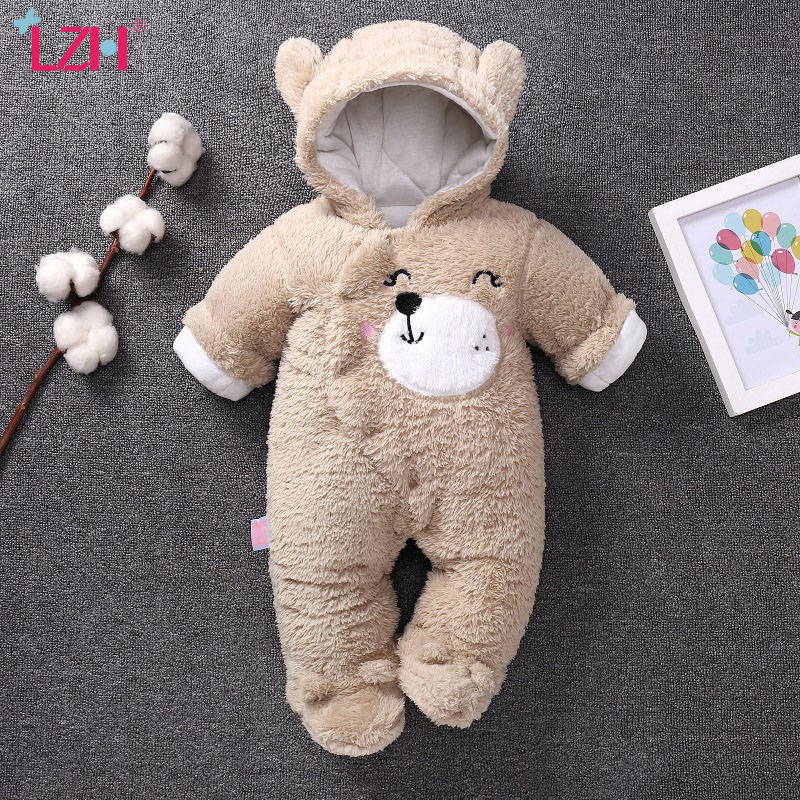LZH 2021 Winter Autumn Infant Cartoon Bear Rompers For Baby Boys Jumpsuit Baby Girls Romper Cotton Cashmere Clothes 3 6 9 12 M